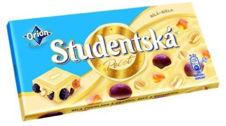 Шоколад Orion Studentska белый изюм+арахис+цукаты 180г