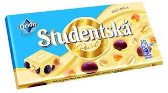 Шоколад Orion Studentska белый изюм+арахис+цукаты 180 г
