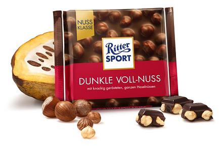 Шоколад  Ritter Sport Dunkle Voll-Nuss черный с орехом 100 г, фото 2