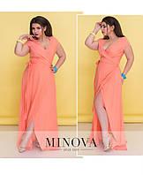 Летящее летнее платье-макси с короткими рукавами ТМ Minova р. 50-54,54-56