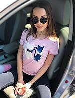 """Женская молодежная футболка """"Кошечки"""" РАЗНЫЕ ЦВЕТА!"""