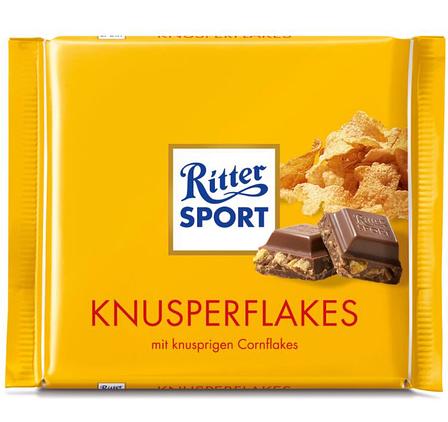 Шоколад Ritter Sport Knusperflakes молочный с кукурузными хлопьями 100г, фото 2