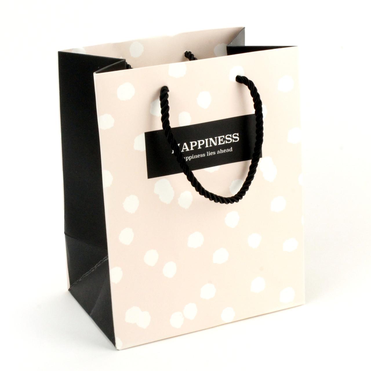 Подарочный пакет 14 x 15 x 7 см Happiness lies ahead персиковый горох