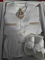 Набор для мальчика в коробке для выписки из роддома и крещения