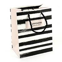 Подарочный пакет 14 x 15x 7см Happiness lies ahead в полоску