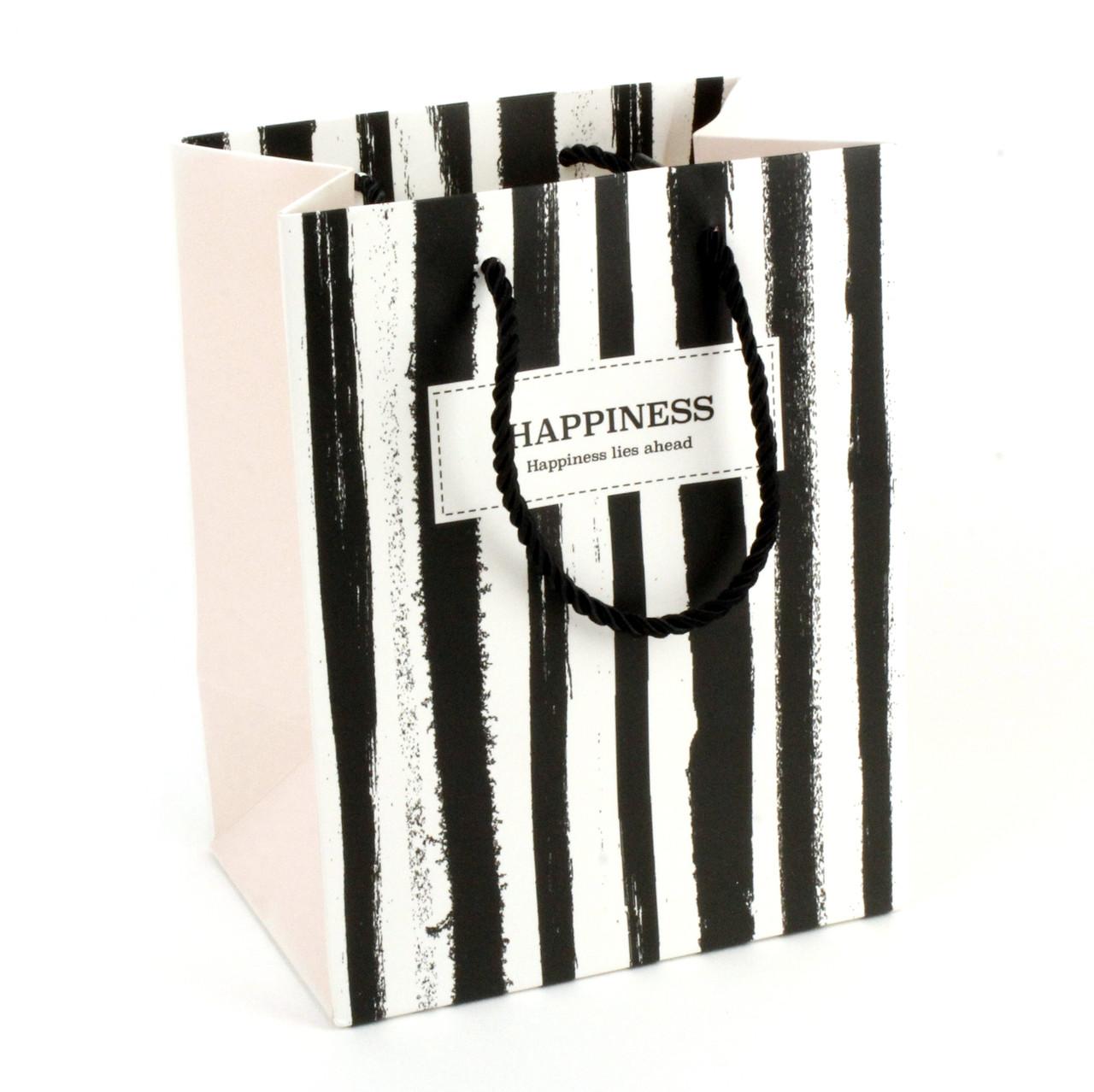 Подарочный пакет 14 x 15 x 7 см Happiness lies ahead вертикальная полоска