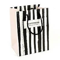 Подарочный пакет 14 x 15x 7см Happiness lies ahead вертикальная полоска