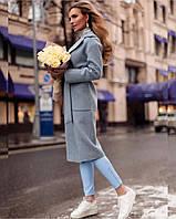 Женское модное двубортное пальто с поясом