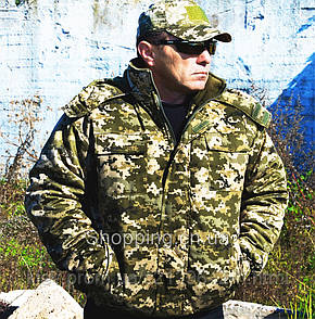 Куртка зимняя пиксель ЗСУ ММ-14 с капюшоном на флисе