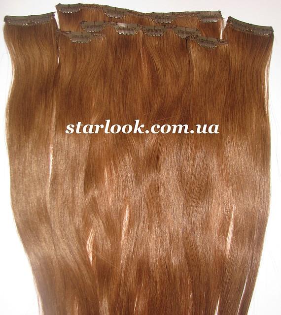 Набор натуральных славянских волос на клипсах 55 см. Оттенок №7а. Масса: 100 грамм.