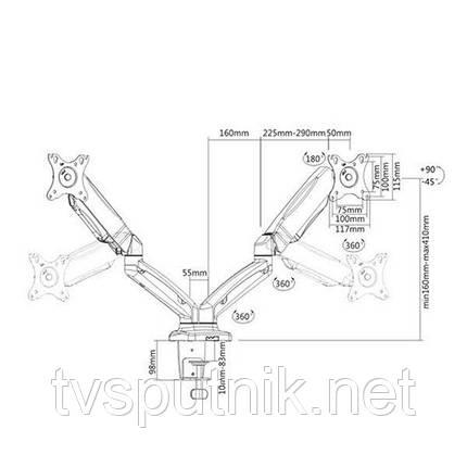 Настольное крепление для 2х мониторов ITECHmount LDT13-C024, фото 2