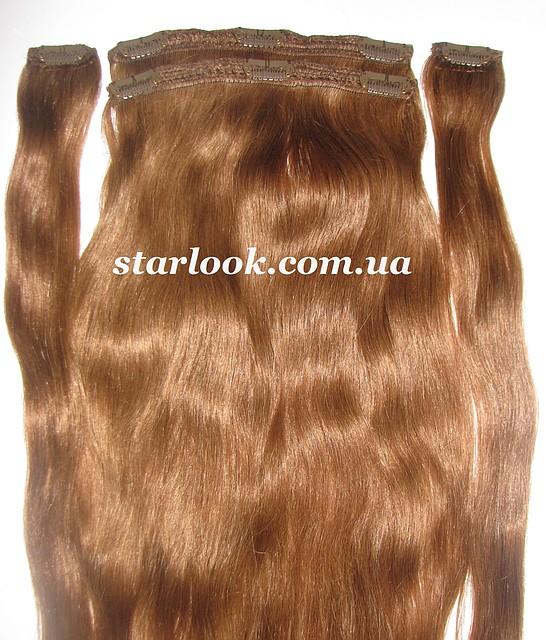 Натуральные славянские волосы на заколках 65 см. Оттенок №8а. Масса: 110 грамм.