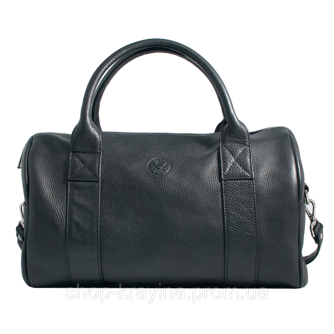 Кожаная сумка VS83  black 33х21х19 см