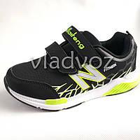 Детские кроссовки для мальчика черные с салатовым KLF 35р.