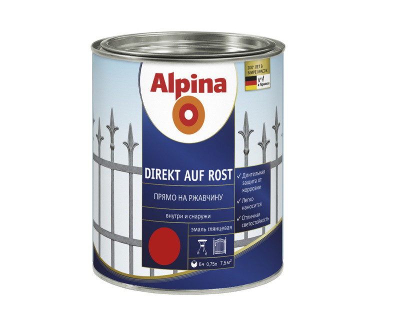 Эмаль-грунт алкидная ALPINA DIREKT AUF ROST антикоррозионная, RAL 3000 - красный, 0,75л