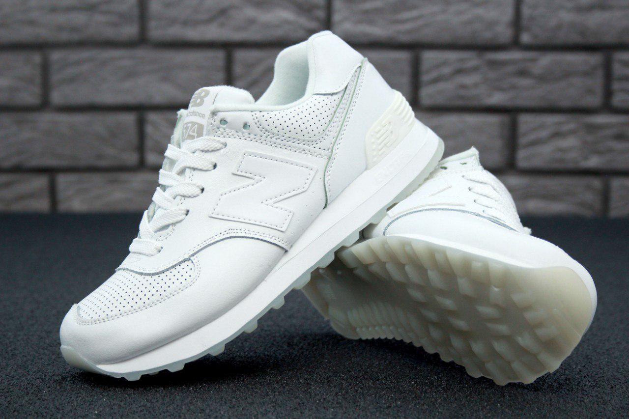 Кроссовки New Balance 574 White Leather. Живое фото (Реплика ААА+) -  Интернет 1ac6485fb7028