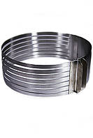 Раздвижное кольцо для нарезания бисквита на 6 коржей от 25 см до 32 см