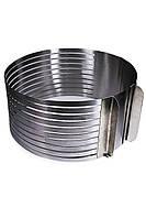 Раздвижное кольцо для нарезания бисквита на 9 коржей от 25 см до 32 см
