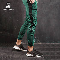 Спортивные штаны с лампасами мужские ТУР Rocky, зелёные с чёрным