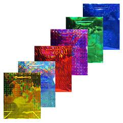 Пакет Подарочный Голографический 21 см * 18 см * 7,5 см (большой) Упаковкой 12 шт.