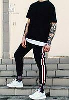 Спортивные штаны MS 18, черные с лампасами