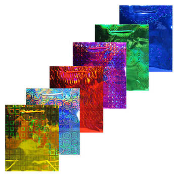 Пакет Подарочный Голографический 21 * 18 * 7,5 см. (Большие) Код 1182