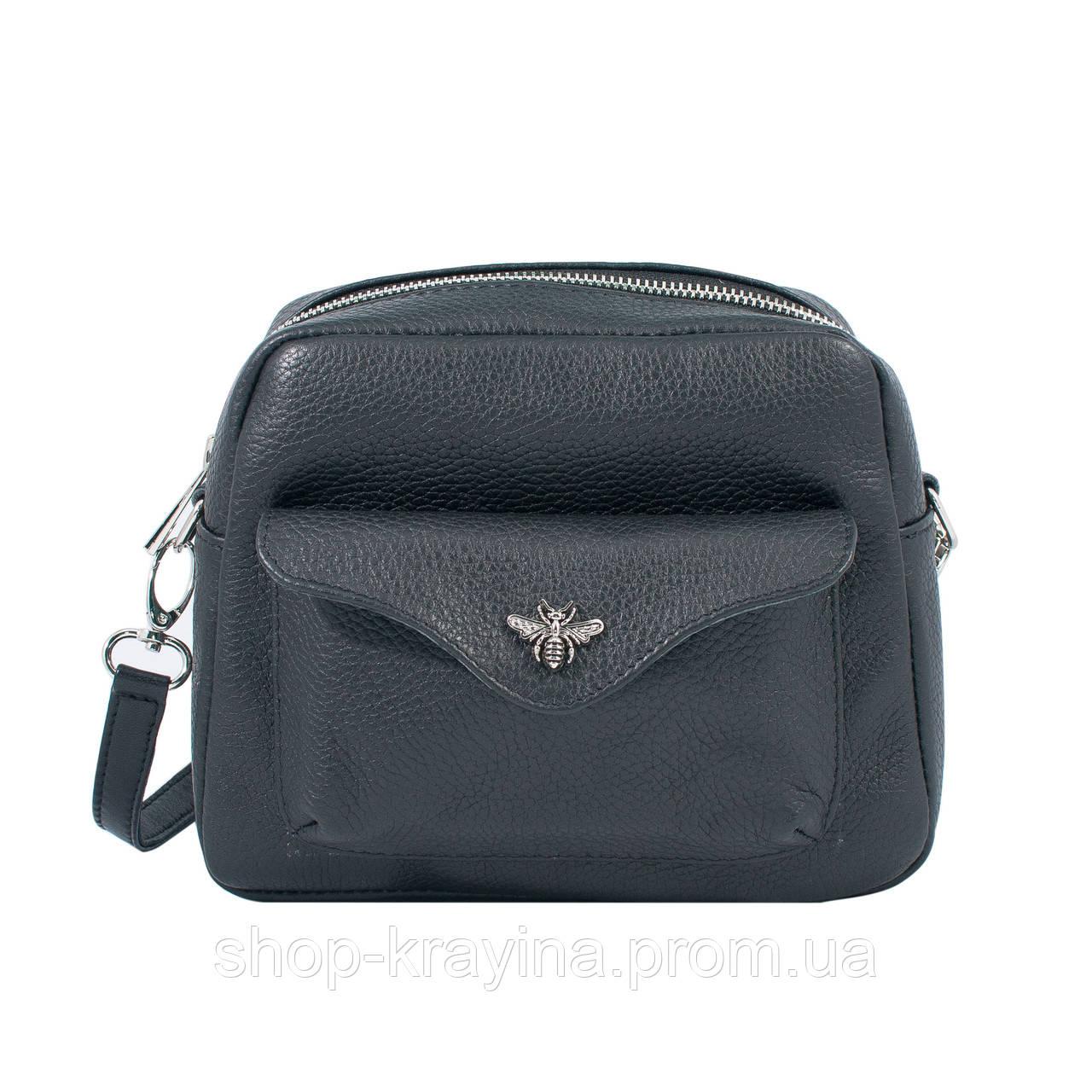 Кожаная сумка VS171  black insect 20х16х6 см