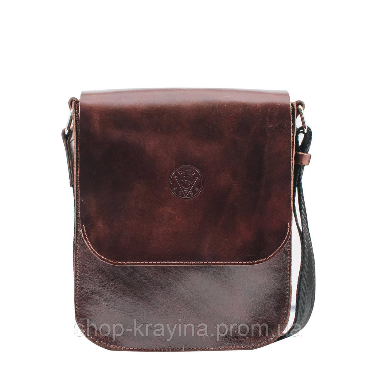 eae1c377b196 Кожаная мужская сумка VS214 brown gloss 20х23х5.5 см - Интернет магазин  сумок, обуви