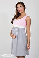 Ночная сорочка для беременных и кормящих Sela, серый меланж с нежно-розовым, фото 1