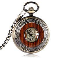 Часы механические карманные  Luxury Wood  Skeleton, фото 1