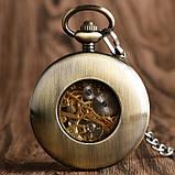 Часы механические карманные  Luxury Wood  Skeleton, фото 3