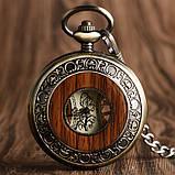 Часы механические карманные  Luxury Wood  Skeleton, фото 5