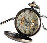Часы механические карманные  Luxury Wood  Skeleton, фото 7