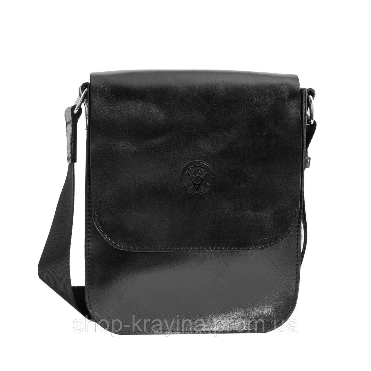Кожаная мужская сумка VS214  black gloss 20х23х5.5  см