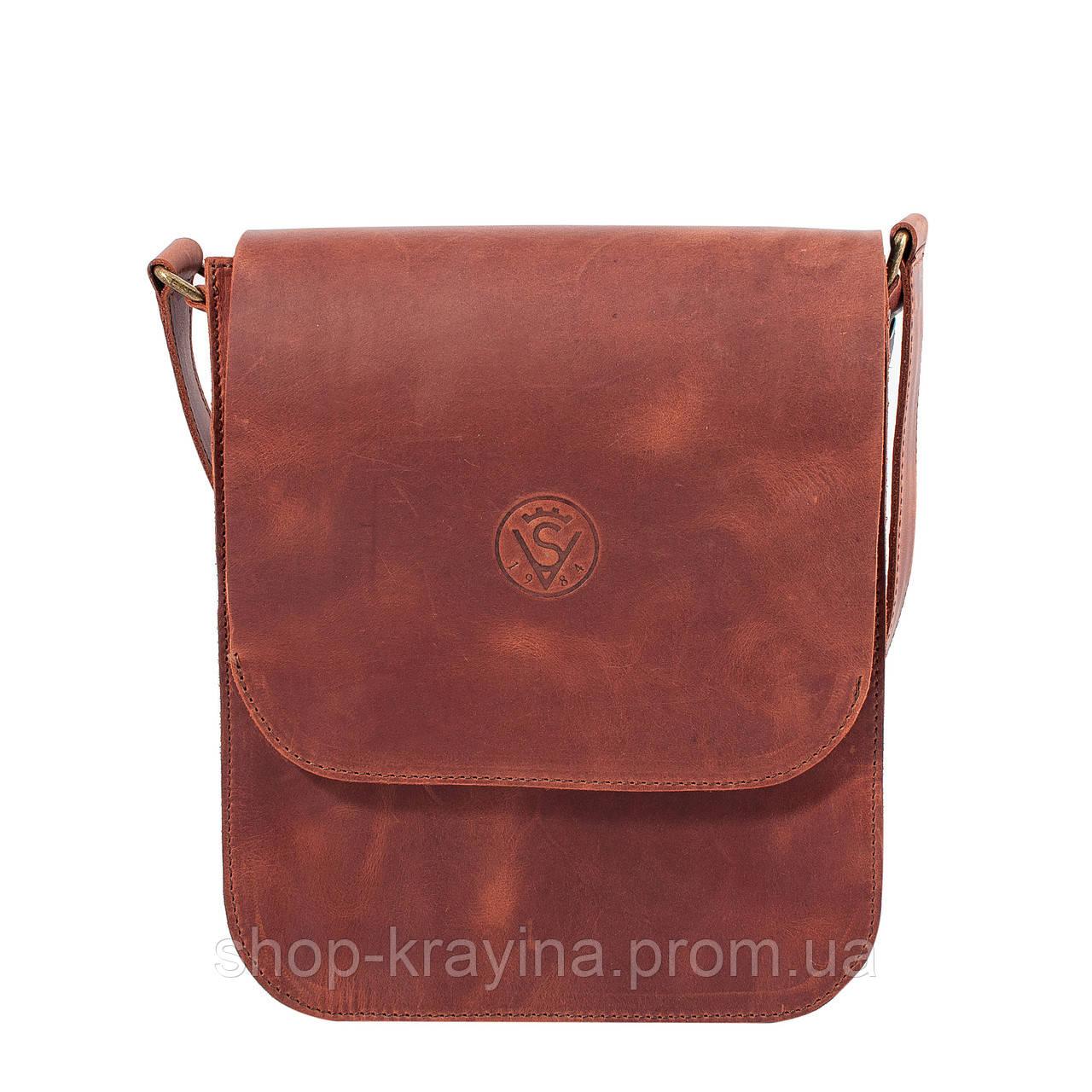 Кожаная мужская сумка VS214 Crazy horse ginger 20х23х5.5  см