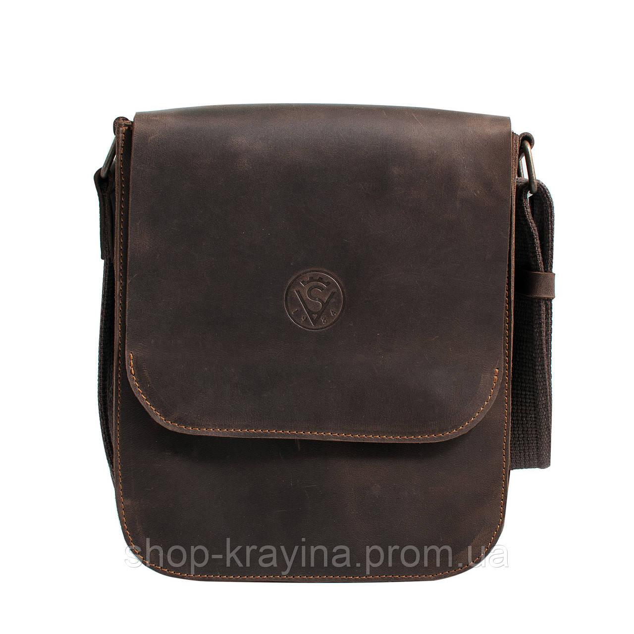 Кожаная мужская сумка VS214 Crazy horse brown 20х23х5.5  см