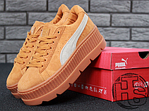 Женские кроссовки реплика Puma x Fenty by Rihanna Cleated Creeper Golden Brown 366268-02, фото 3