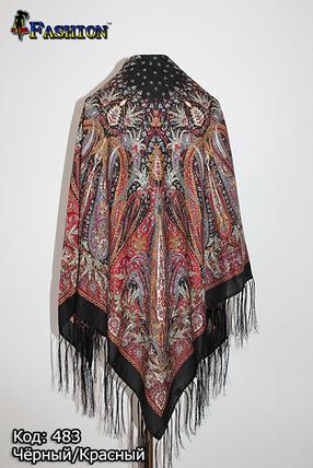 Павлопосадский чёрный платок Муза, фото 2