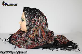Павлопосадский чёрный платок Муза, фото 3