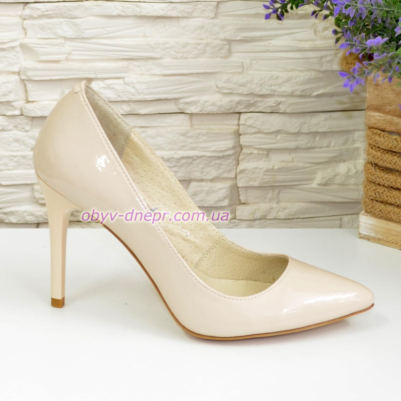 Туфли женские лаковые на шпильке, бежевый цвет