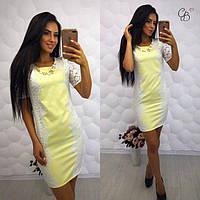 Летнее коттоновое платье с белым кружевом (в расцветках) 16843PL, фото 1