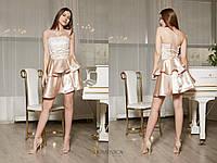 Платье с кружевным верхом и атласной юбкой (от 42 до 52 размера) 16848PL, фото 1