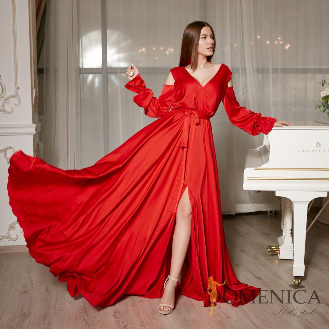 8d285beb2c6 Шелковое длинное платье с вырезом на спине и открытыми плечами (от 42 до 52  размера