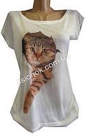 Женская футболка с рыжим котом, 44-48
