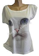 Женская футболка с белым котом, 44-48