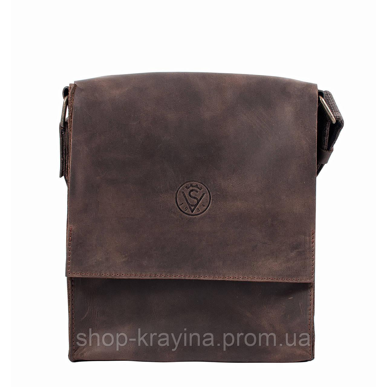 Кожаная мужская сумка VS220 Crazy horse brown 24х22х6 см
