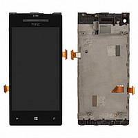 Дисплей (экран) для HTC C620e Windows Phone 8X с тачскрином/сенсором (модуль) чёрный + рамка