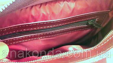 105-1 Натуральная кожа, Сумка женская, марсала ультраматовый, ремень гладкий регулируемый, фото 2