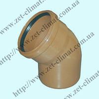 Колено для наружной канализации 200 мм 15⁰ ПВХ