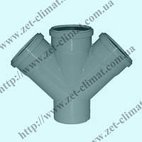 Крестовина для внутренней канализации 110х50х110х50 мм 45⁰ ППР